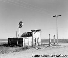 Abandoned Texaco Gas Station / Pumps, North Dakota - 1937 - Historic Photo Print