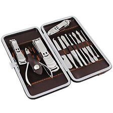 Manicure Pedicure Set 12 Pcs Nail Care Cutter Cuticle Clippers Kit Gift Case