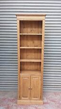 solid pine & oak bookcase shelf with doors and storage cupboard/made to measure