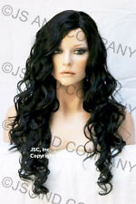 EXTRA LONG JET BLACK Side Skin top parting Curly/Wavy WIG JSOB 1