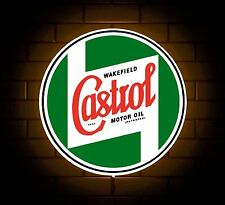 CASTROL BADGE SIGN LED LIGHT BOX OLD OIL CAN MAN CAVE GARAGE CAR GAMES ROOM GIFT