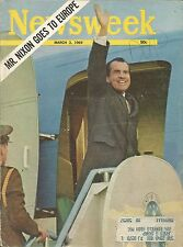 MARCH 3, 1969 NEWSWEEK MAGAZINE PRESIDENT RICHARD NIXON EUROPE TRIP REPUBLICAN