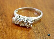 Estate .80 ctw Platinum Old European Cut Old Mine 3 Diamond Engagement Ring TLB