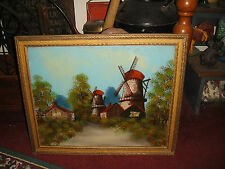 Antique Reverse Painting On Glass-Windmills-German Dutch-Countryside-Detailed