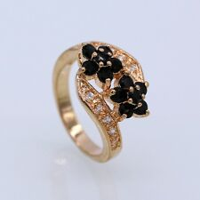 Charm Beauty Double Flowers Black Crystal Champagne Gold Plated CZ Ring Size 6