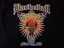 BASKETBALL T-shirt  Size Large Black Tee Mens EUC Flaming Hoop Miles City