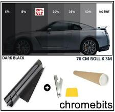 CAR WINDOW TINT FILM TINTING DARK BLACK SMOKE 20% 76cm x 3M  30X118""