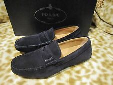 PRADA MENS SUEDE LEATHER BLACK BLUE LOAFER DRIVER SHOES 5 /US 6 D NEW NIB