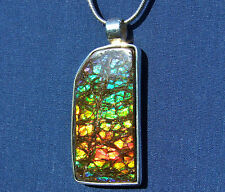 49ct. DRAGON-SKIN AMMOLITE PENDANT, STERLING SILVER- Handmade, Feng Shui Prized