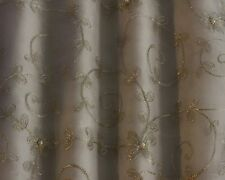 "Silver Embroidery on White 100% Silk Organza Fabric 44"" Wide, By  Yard (EB-978)"