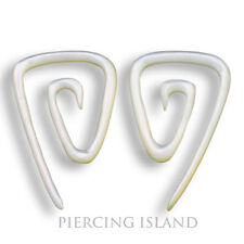 2mm Paar! Ohrringe Dehnungsspiralen Muschel Perlmutt Piercing Shell Earrings 254