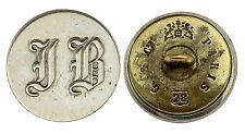 Ancien Bouton de Livrée, Lettres IB en gothique. France. 28 mm. Plat. Vers 1870