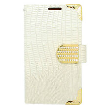 PU Wallet Pouch Croc White Cover Case For LG L65 D280 D280N D285