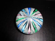 MURANO Latticino SUPER CRYSTAL PAPERWEIGHT TWISTED RIBBONS