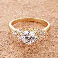 Womens 14K Yellow Gold Filled Clear Cubic Zirconia Round Lot Elegant Ring Rings