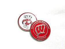 NCAAWisconsin Badgers Golf Ball Marker Enamel Metal Team Logo 2 Sided Hat