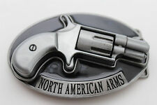 Men Western Belt Buckle Silver Metal Gun Pistol North American Arms NRA Revolver