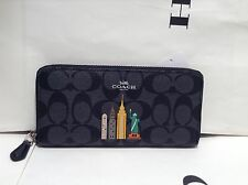 NWT COACH SIGNATURE NYC SKYLINE SLIM ACCORDION ZIP WALLET F57821