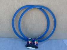 [2] NEW 700 X 35 ''C'' ALL BLUE BICYCLE TIRES W [2] TUBES & [2] LINERS FIXIE