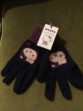 NWT BRORA FRENCH NAVY 100% CASHMERE HELLO KITTY GLOVES 10-12 OR SMALL ADULT HAND