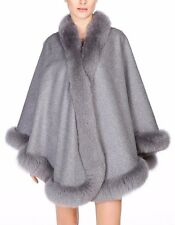 Gray Cashmere Cape Wrap Shawl with Fox Fur Trim New