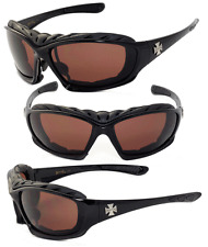 Choppers Motorcyle Riding Glasses Foam Padded Sunglasses -  Amber Lens C49