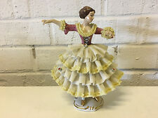 Vintage Wilhelm Rittirsch Dresden Art Porcelain Lace Figurine Woman / Dancer