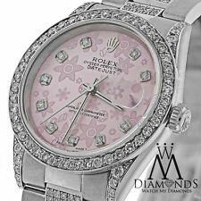 Ladies Diamond Rolex DateJust 36mm Pink Flower Diamond Dial 16200 Luxury Watch
