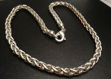 "6mm HEAVY WHEAT BRAIDED CHAIN NECKLACE 18"" STERLING SILVER 925 (57g)"