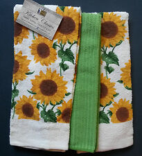 SUNFLOWER theme KITCHEN TOWELS Set of 3 Yellow Green NEW