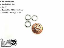 4X Stainless Steel Key Chain Split Ring .43 in / 10.92 mm OSD #7 LOT OF 4 RINGS