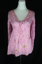 Nougat London Tunic Sz 1 Silk Pink Floral w/ embroidered Flowers Lightweight