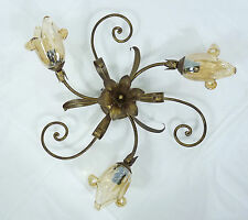 Lámpara De Techo Luz Led art.l 12 Hierro Batido Forjado Rústico Cristal Vidrio Murano