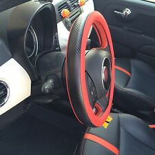 Slip-On Sporty Steering Wheel Cover Perfect Fit Red & Carbon Fiber Style