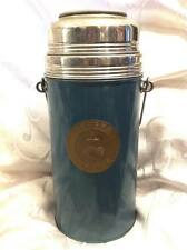 PEOPLE'S REPUBLIC CHINESE BLUE ENAMEL BOTTLE THERMOS WITH WOOD HANDLE 1950'S