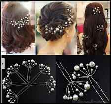 5 X Pearl Flower Bridal Bridesmaid Wedding Party Diamante Hair Pin Clip UK
