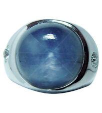 GIA  Vintage 20ct Star Sapphire European Diamond Man Ring 14K White Gold