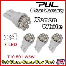 7 LED HID XENON WHITE 501 T10 W5W SIDELIGHT / NUMBER PLATE / INTERIOR BULBS x 4