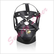 leather mask eyes collar and detachable zip mouth straps over face