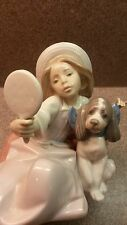 MINT GLAZED LLADRO PORCELAIN FIGURINE #5468 WHO'S THE FAIREST GIRL MIRROR DOG