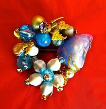 ~WOW! Vintage Mariam Huskell BLUE GRIPOIX HIGHEST QUALITY CABOCHON BROOCH PIN
