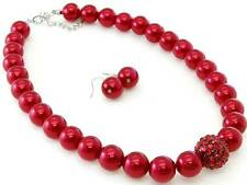 RED GLASS FAUX PEAR PAVE CRYSTAL BALL BEAD NECKLACE EARRING SET