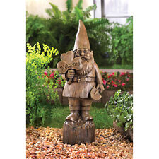 "RUSTIC FAUX WOOD GNOME WELCOME STATUE OUTDOOR GARDEN YARD 20"" TALL~~14790"