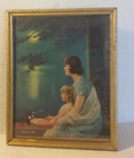 Antique Lithograph Print Mother & Child DREAMING TIME Momma Baby Girl MOON WATER