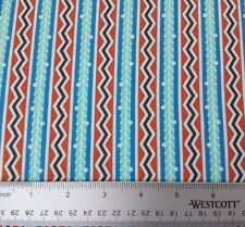 Lou Lou Thi BTY Anna Marie Horner FreeSpirit Floral ZigZag Stripe Blue Rust
