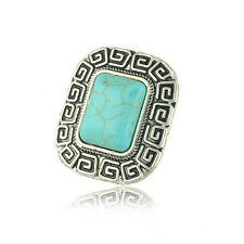Bohemian Retro Style Square Silver Carved Turquoise Adjustable Finger Ring