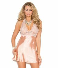 Sexy Lingerie Peach Medium M Women Babydoll Lace Satin Halter Low Back Panty Set