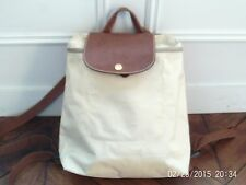 Longchamp beige zipped backpack, 'Pliages' collection, good condition