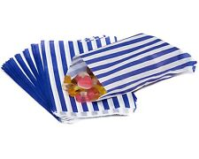 "100 BLUE CANDY STRIPE PAPER PARTY GIFT SWEET BAGS 7"" x 9"" - CANDY CART WEDDING"