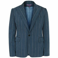 RALPH LAUREN PURPLE LABEL COLLECTION $898 faded blue cotton blazer jacket 12 NEW
